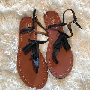 Topshop Leather Tassel Sandals